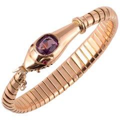 Gold Amethyst Ruby Snake Bracelet