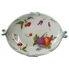 Gold Anchor Chelsea Rococo Shape Dish, Painted with Fruit and Bug, circa 1765
