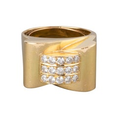 Gold and 1 Carat Diamonds French Tank Ring