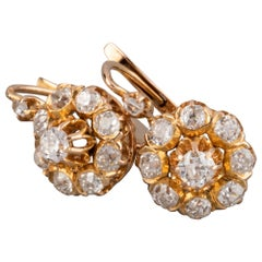 Gold and 1 Carat Diamond Antique French Earrings