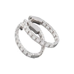 Gold and 1.06 Carats Diamonds French Créoles Earrings