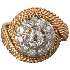 Gold and 1.10 Carat Diamonds French Vintage Ring