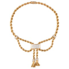 Gold and 1.35 Carats Diamonds French Vintage Necklace