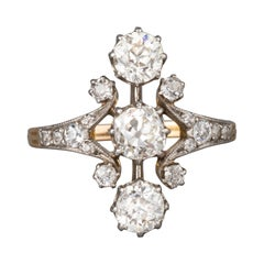 Gold and 1.60 Carats Diamonds Antique Belle Epoque Ring