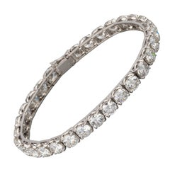 Gold and 16.5 Carats Diamonds French Vintage Tennis Bracelet