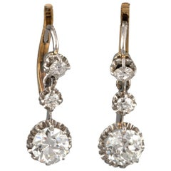 Gold and 2.30 Carat Diamonds Antique Earrings