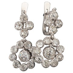 Gold and 3 Carat Diamonds Vintage Earrings
