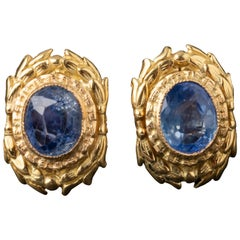 Gold and 3 Carat Sapphires Earrings