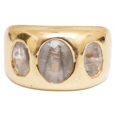 Gold and 3 Oval Quartz Ring