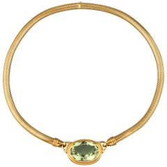 Gold and 30 Carats Peridot Gübelin Vintage Necklace