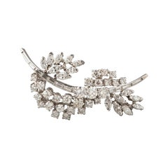 Gold and 5 Carat Diamonds French Brooch
