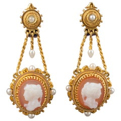 Gold and Agate Antique Napoleon III Earrings