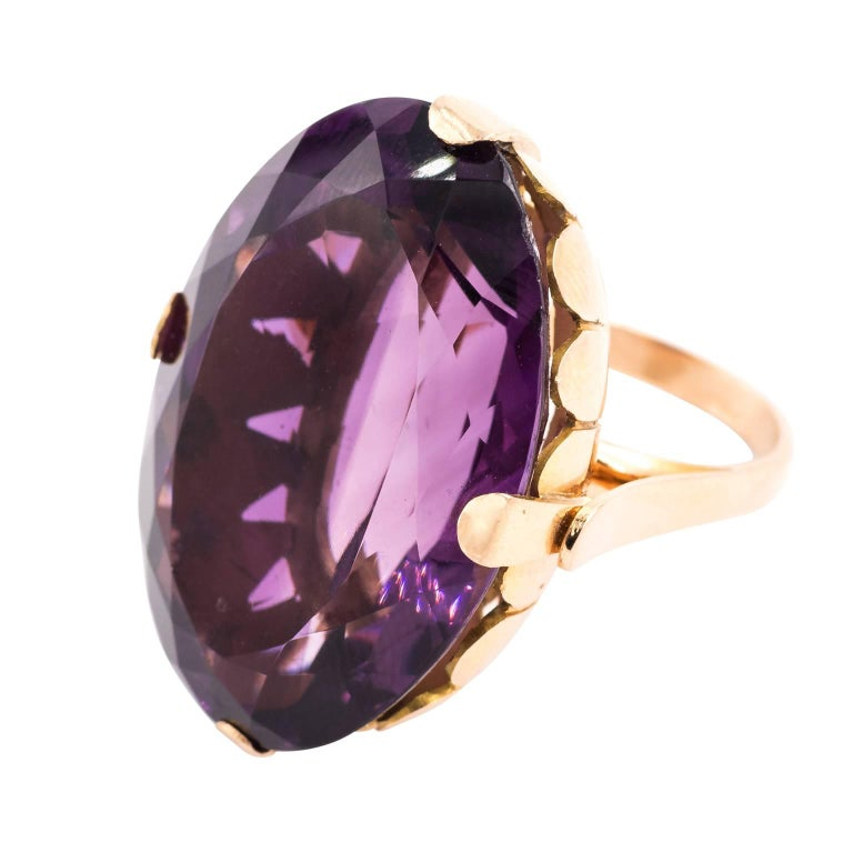 Gold and Amethyst Cocktail Ring