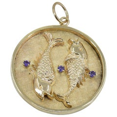 Gold and Amethyst Pisces Charm/Pendant