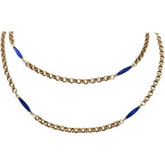 Gold and Azure Enamel Bead Necklace