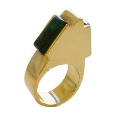 Gold and Azure Malachite Ring, circa 1970