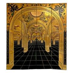 Gold and Black Art Nouveau / Art Deco Paravant 20th Century Wood and Gold Leaf