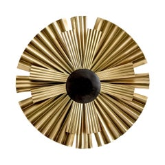 Gold and Black Lacquer Finish Metal Pair of Wall Lights