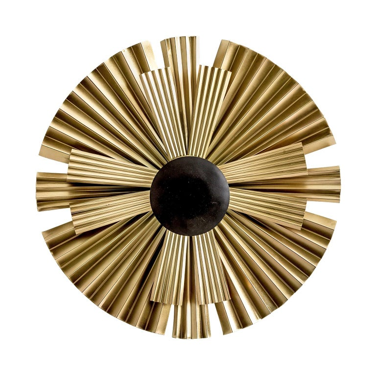 Gold and Black Lacquer Finish Metal Pair of Wall Lights  For Sale