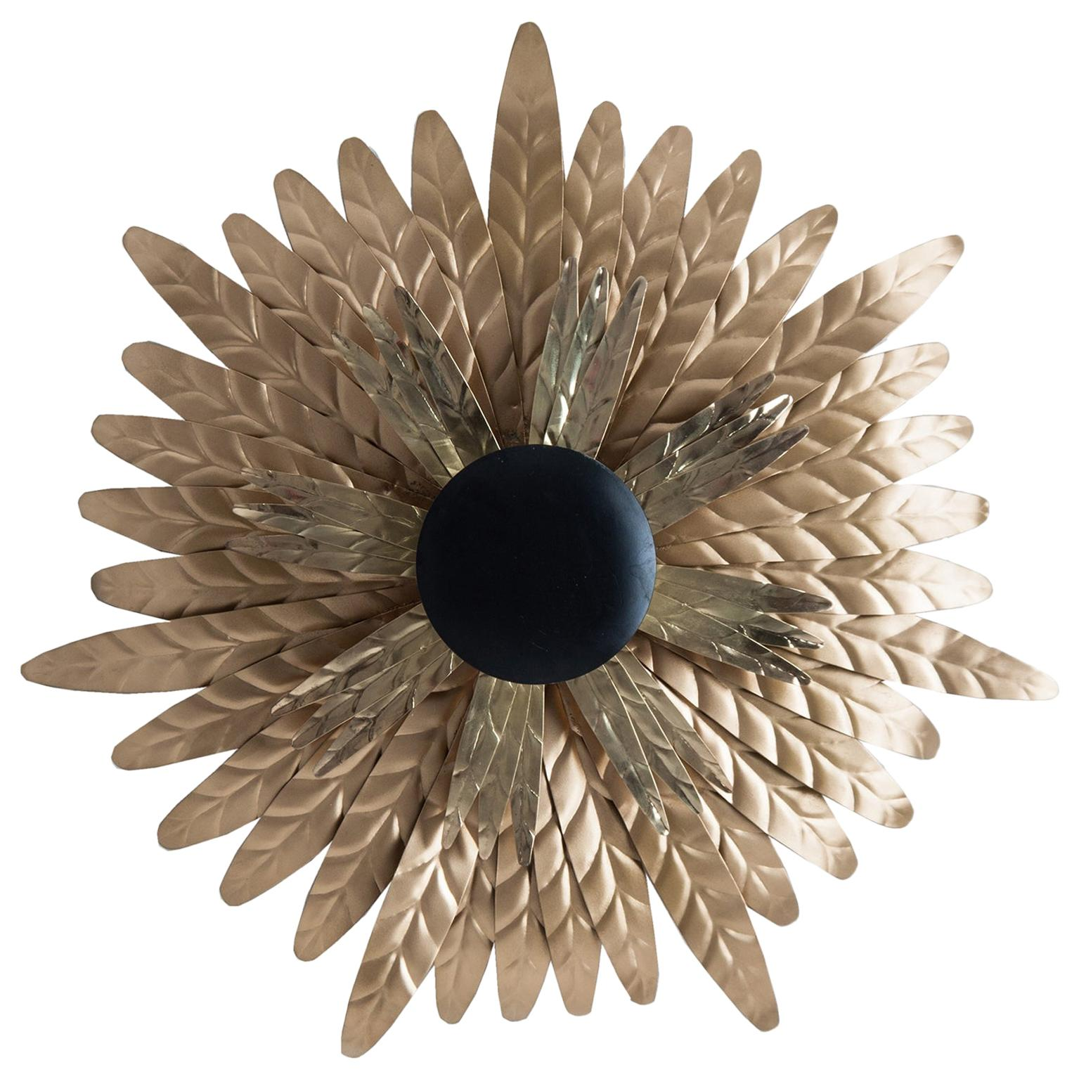 Gold and Black Lacquered Finish Metal Pair of Wall Lights