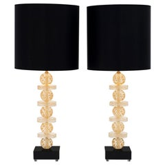 Gold and Black Murano Glass Lamps