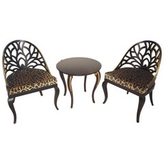 Gold and Black Table and Chair Set