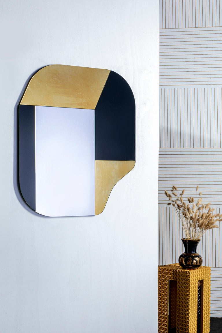 American Gold and Black WG.C1.A Hand-Crafted Wall Mirror For Sale