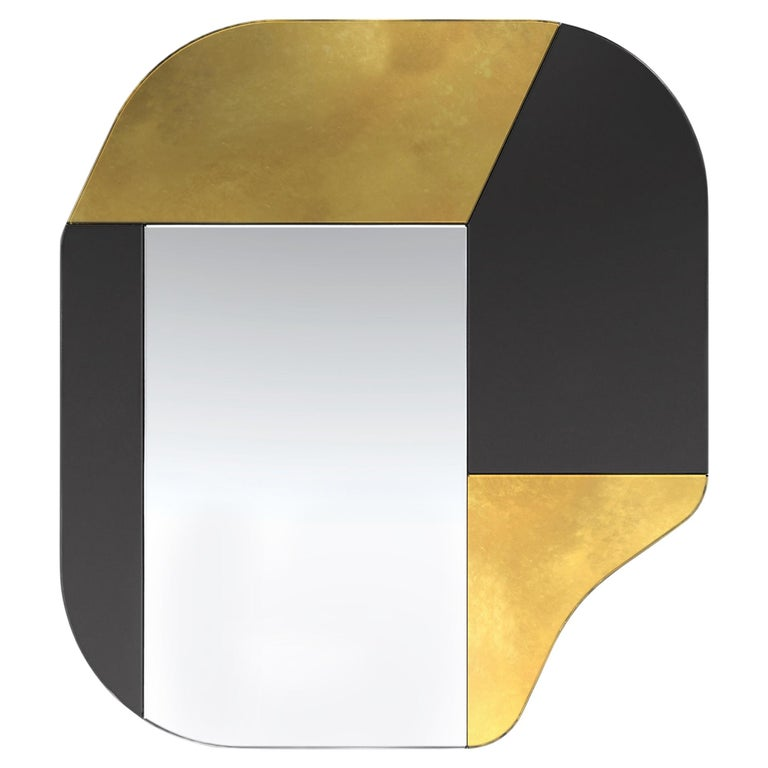Gold and Black WG.C1.A Hand-Crafted Wall Mirror For Sale
