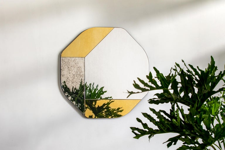 Dyed Gold and Black WG.C1.B Hand-Crafted Wall Mirror For Sale
