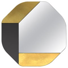 Gold and Black WG.C1.B Hand-Crafted Wall Mirror