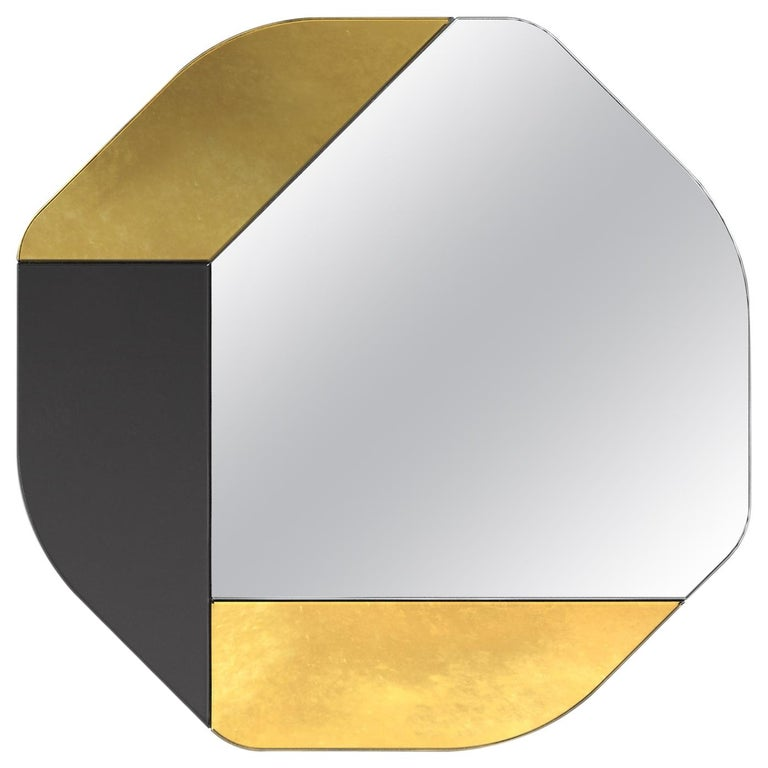Gold and Black WG.C1.B Hand-Crafted Wall Mirror For Sale