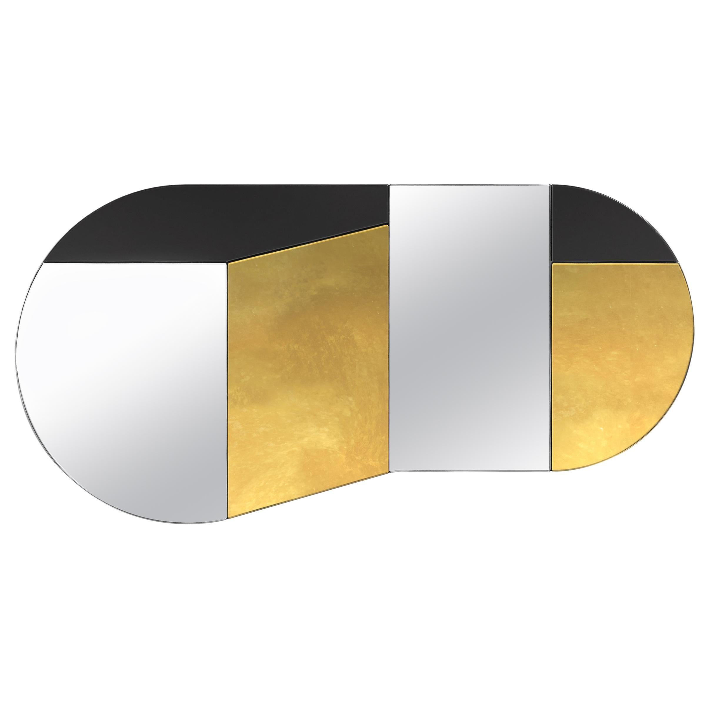 Gold and Black WG.C1.C Hand-Crafted Wall Mirror
