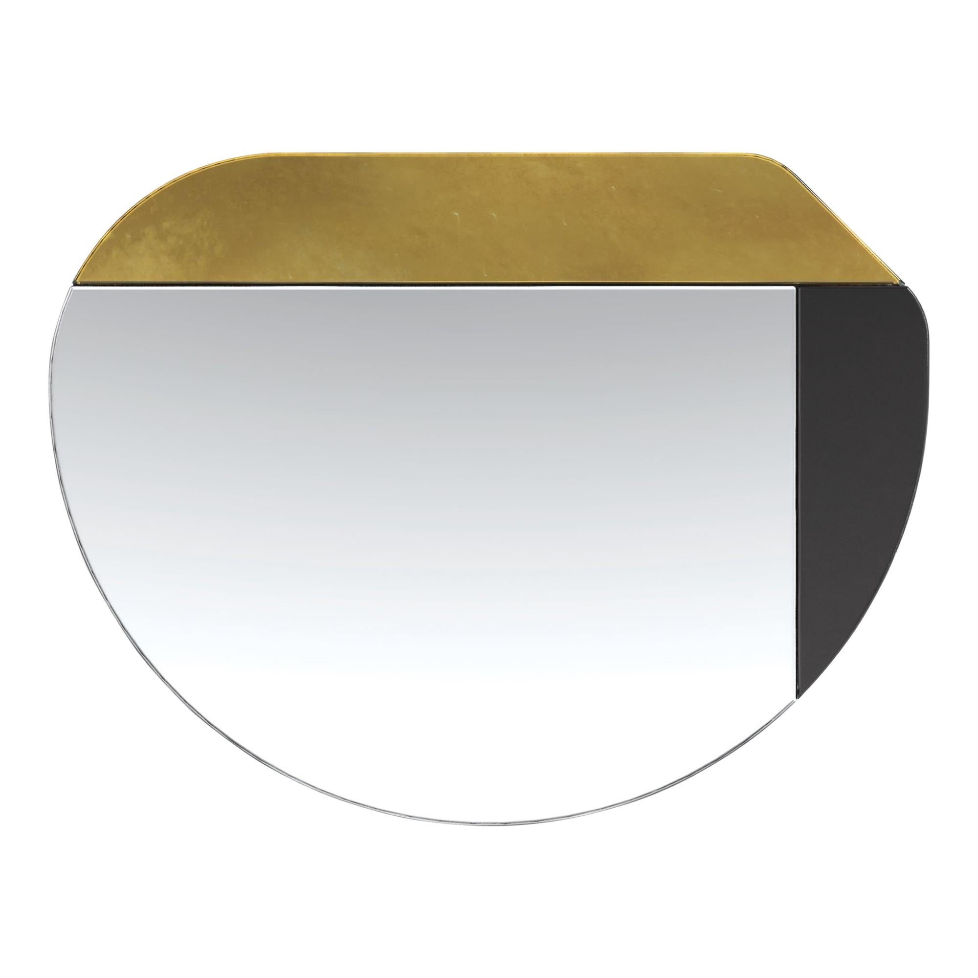 Gold and Black WG.C1.E Hand-Crafted Wall Mirror