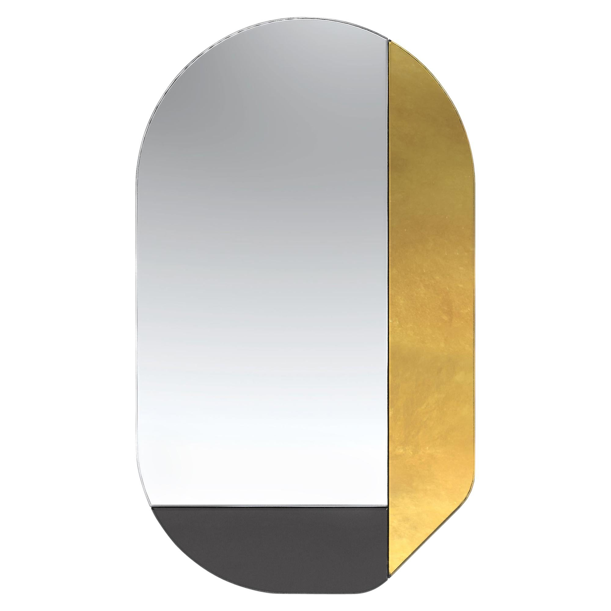 Gold and Black WG.C1.G Hand-Crafted Wall Mirror