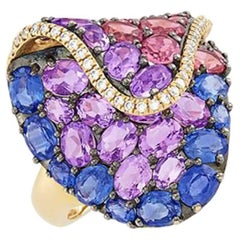 Gold and Blackened Gold Multi-Sapphire Ring with Diamonds