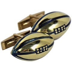 Gold and Blue Enamel Football Cufflinks