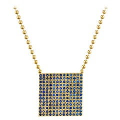 Gold and Blue Ombre Sapphire Necklace