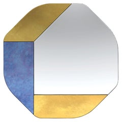 Gold and Blue WG.C1.B Hand-Crafted Wall Mirror