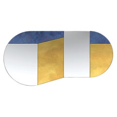 Gold and Blue WG.C1.C Hand-Crafted Wall Mirror