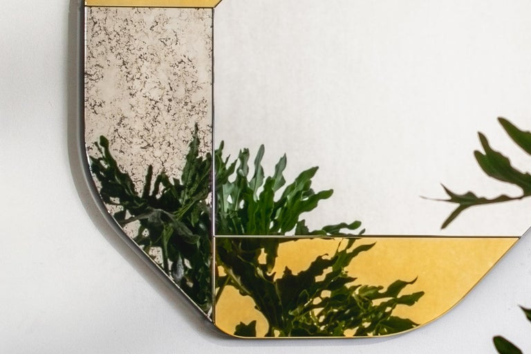 Contemporary Gold and Blue WG.C1.D Hand-Crafted Wall Mirror For Sale
