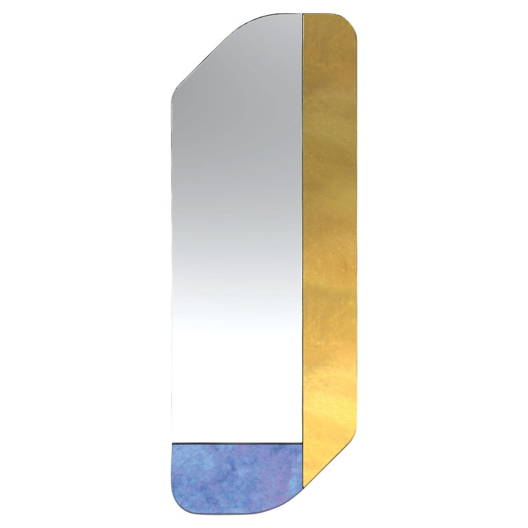 Gold and Blue WG.C1.D Hand-Crafted Wall Mirror For Sale