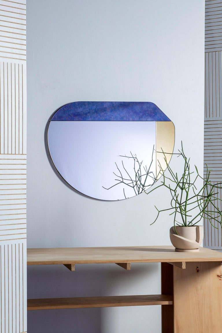 American Gold and Blue WG.C1.E Hand-Crafted Wall Mirror For Sale