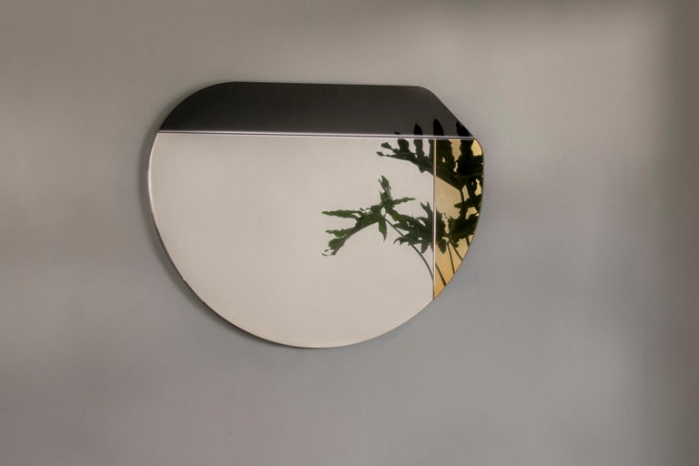 Dyed Gold and Blue WG.C1.E Hand-Crafted Wall Mirror For Sale