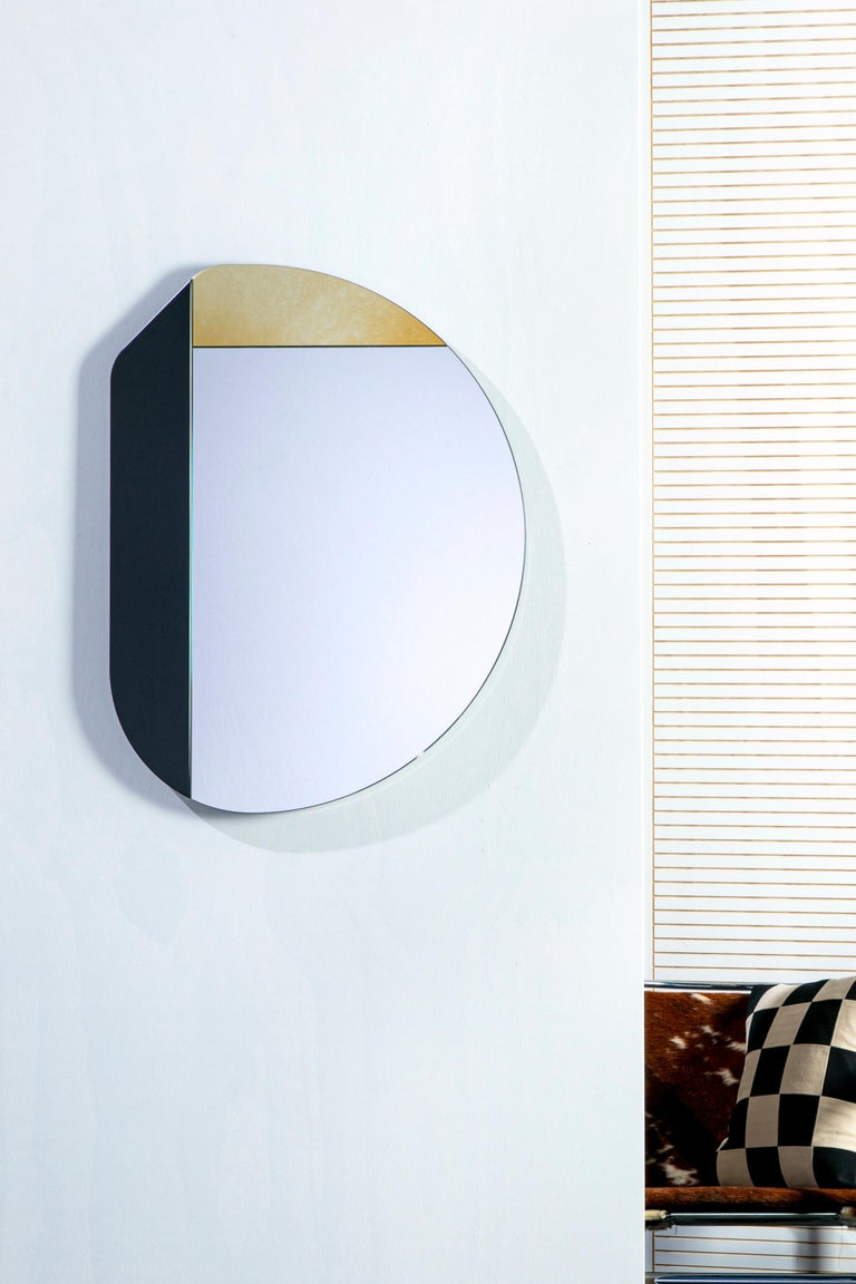 Gold and Blue WG.C1.E Hand-Crafted Wall Mirror In New Condition For Sale In Brooklyn, NY