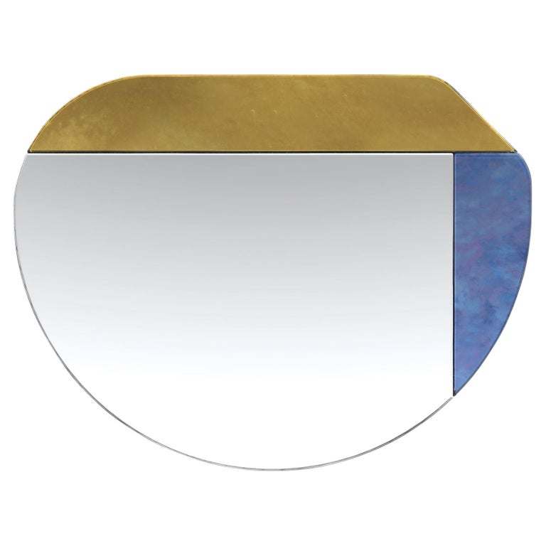Gold and Blue WG.C1.E Hand-Crafted Wall Mirror For Sale