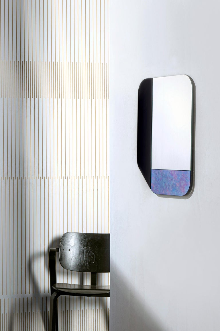 American Gold and Blue WG.C1.F Hand-Crafted Wall Mirror For Sale