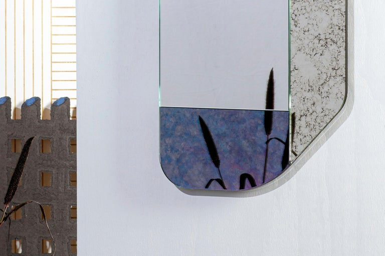 Glass Gold and Blue WG.C1.F Hand-Crafted Wall Mirror For Sale