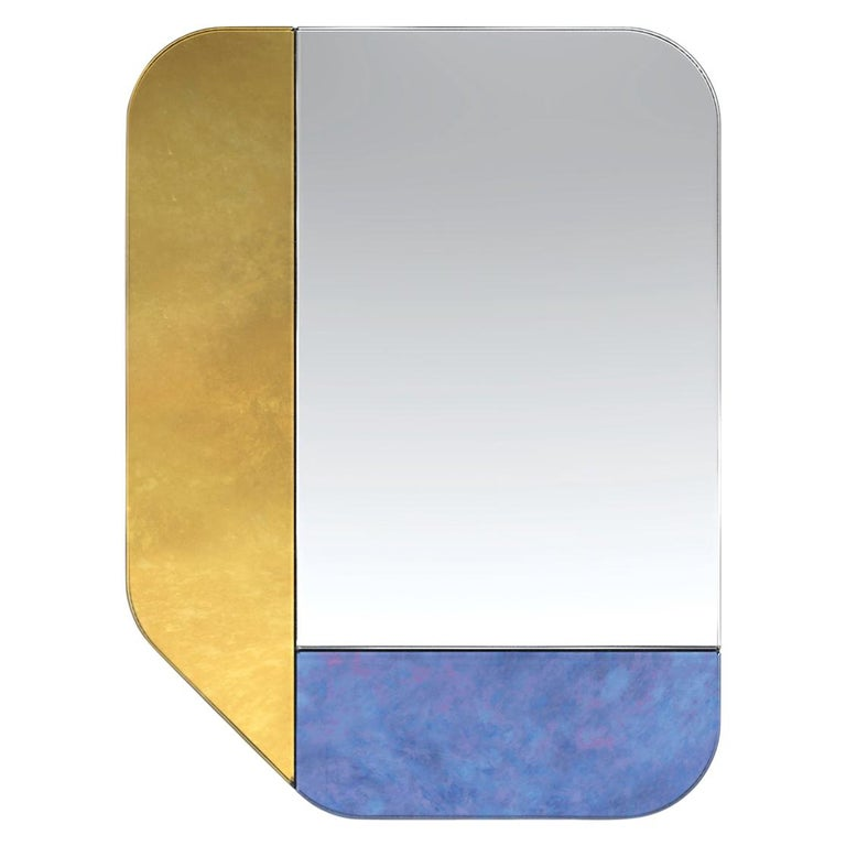 Gold and Blue WG.C1.F Hand-Crafted Wall Mirror For Sale