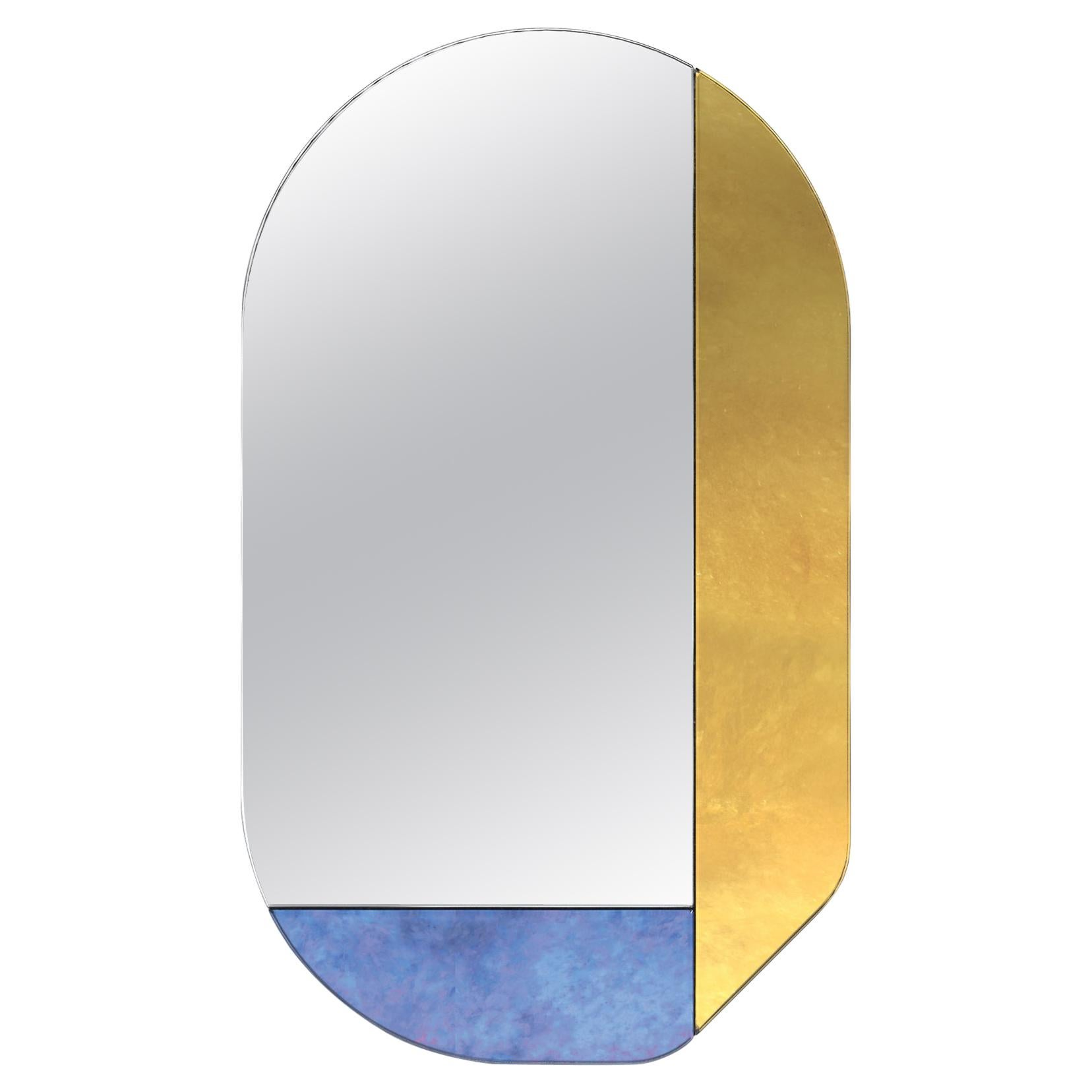 Gold and Blue WG.C1.G Hand-Crafted Wall Mirror