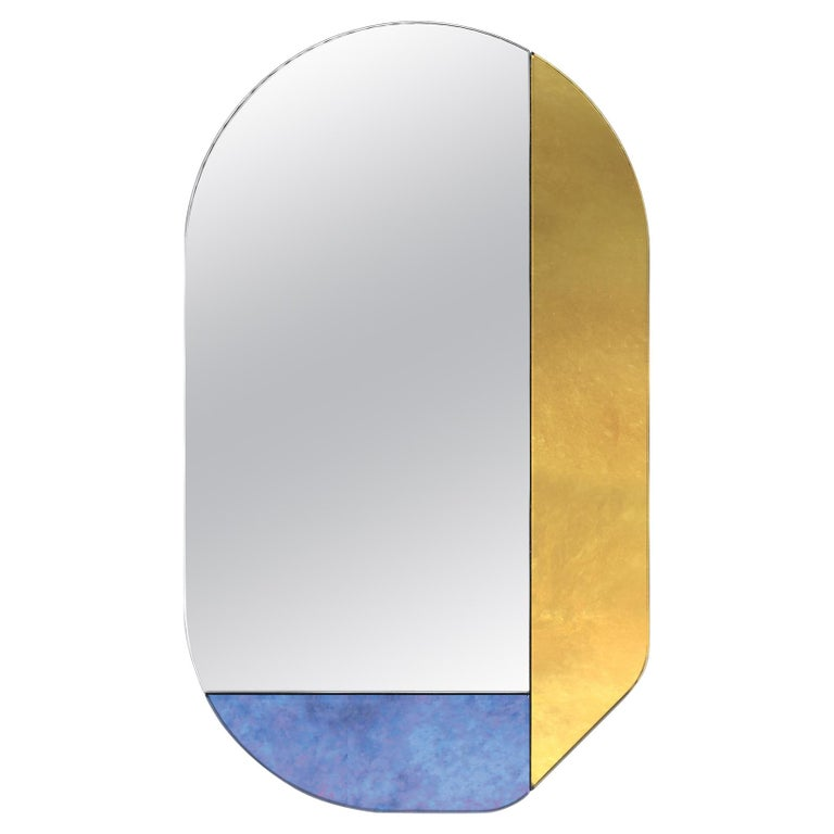 Gold and Blue WG.C1.G Hand-Crafted Wall Mirror For Sale